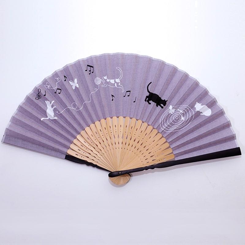 扇子 ヒーリングライフ 紫 猫柄 松寿庵