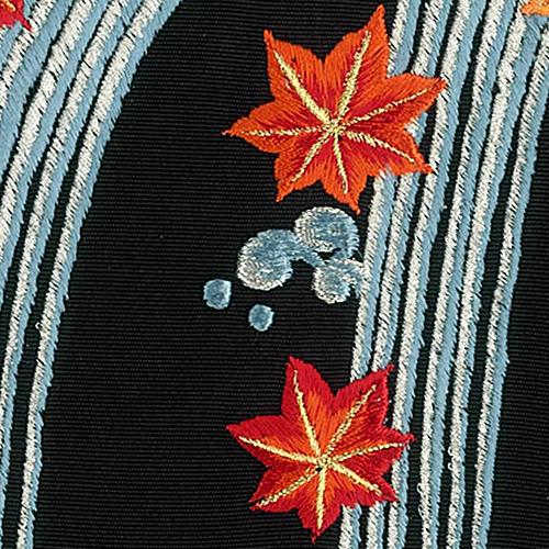 新塩瀬帯 秋の柄「滝に紅葉」 黒地