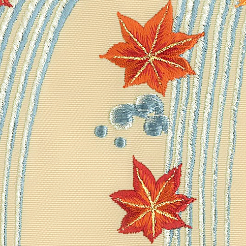 新塩瀬帯 秋の柄「滝に紅葉」 ベージュ地