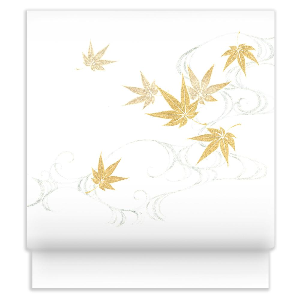新塩瀬帯 秋の柄「金銀彩もみじ」 白地