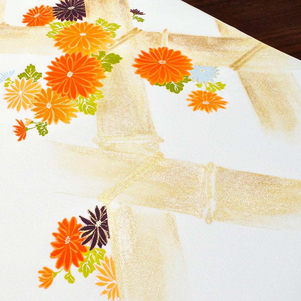 新塩瀬帯 秋の柄「竹垣に菊」 白地