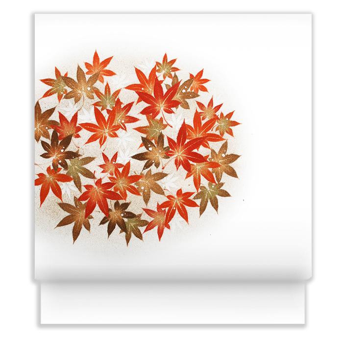 新塩瀬帯 秋の柄「丸紅葉」 白地