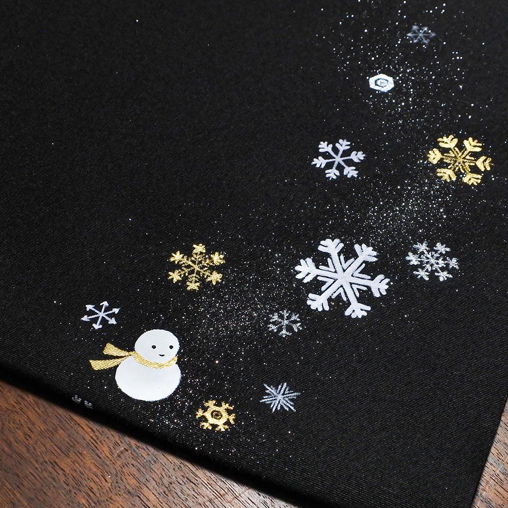 X'masの新塩瀬帯「雪の結晶と雪だるま」 黒地