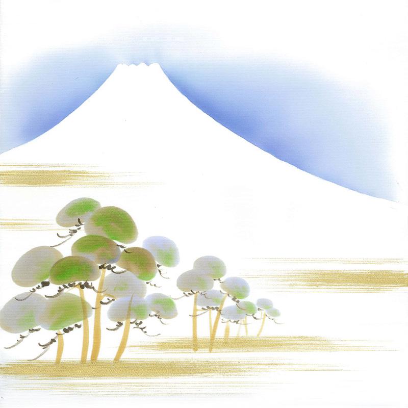 新塩瀬帯 吉祥柄「松に富士」 白地