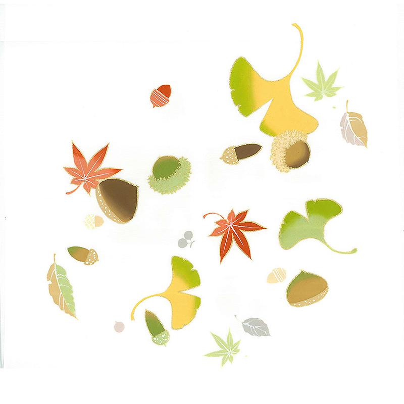 新塩瀬帯 秋の柄「秋の実」 白地