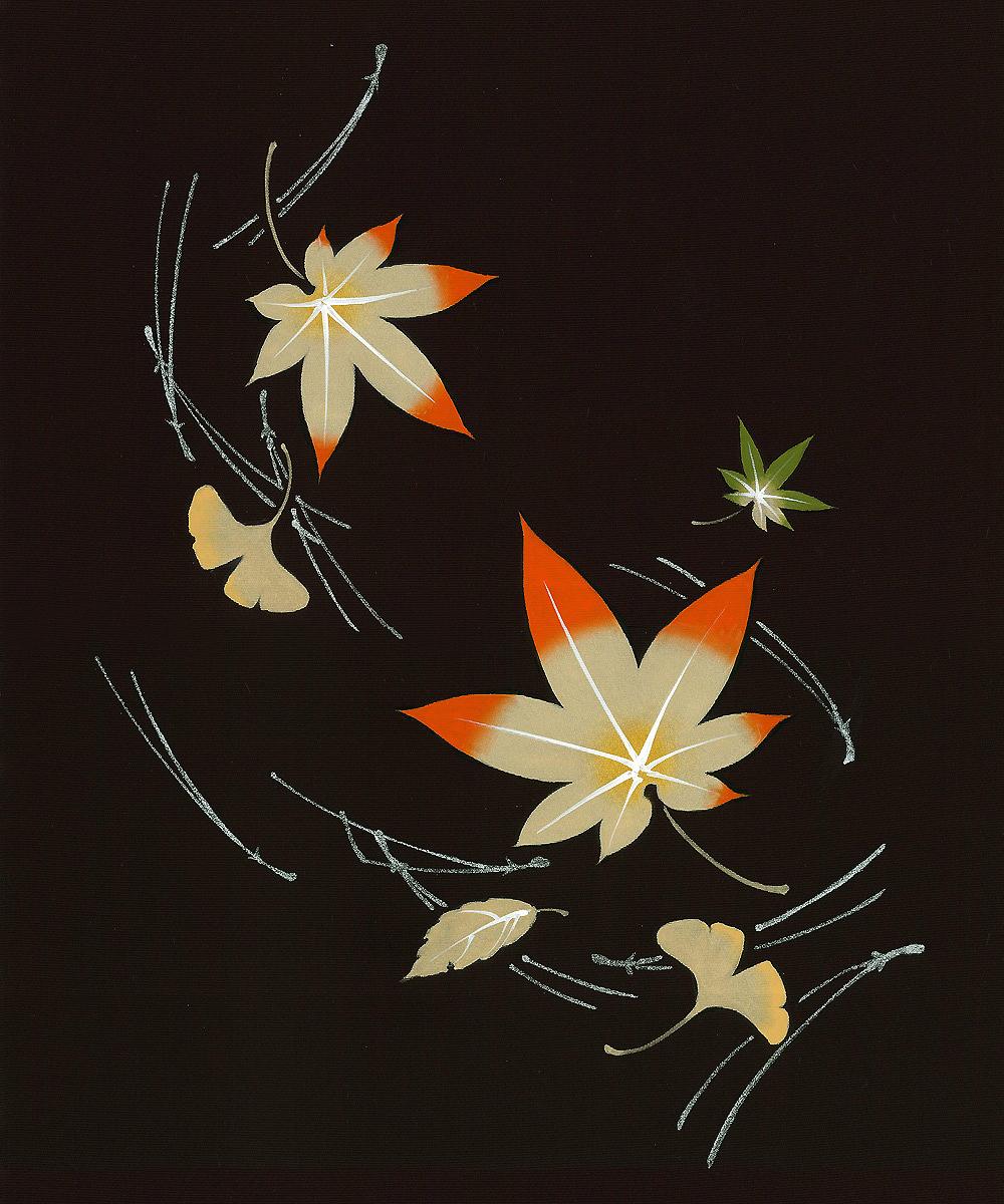 新塩瀬帯 秋の柄「紅葉に松葉」 黒地