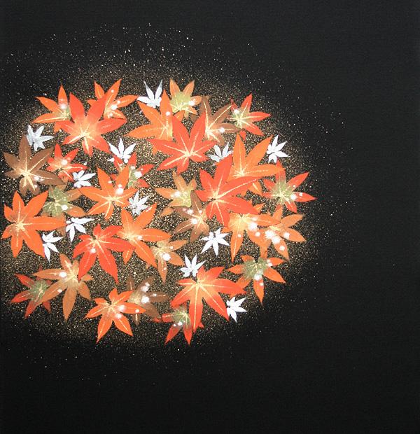 新塩瀬帯 秋の柄「丸紅葉」 黒地