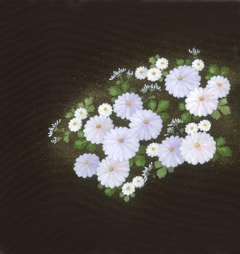 新塩瀬帯 秋の柄「菊に小花」 黒地