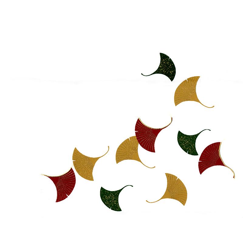 新塩瀬帯 秋の柄「三色銀杏」 白地