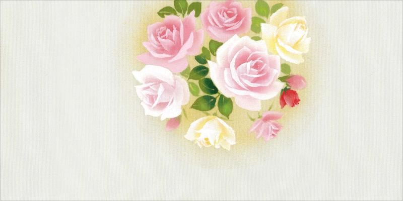 新塩瀬帯 春の柄「薔薇」 グレー地