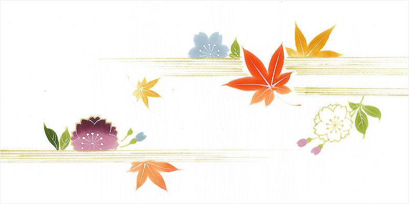 新塩瀬帯 秋の柄「桜に紅葉」 白地