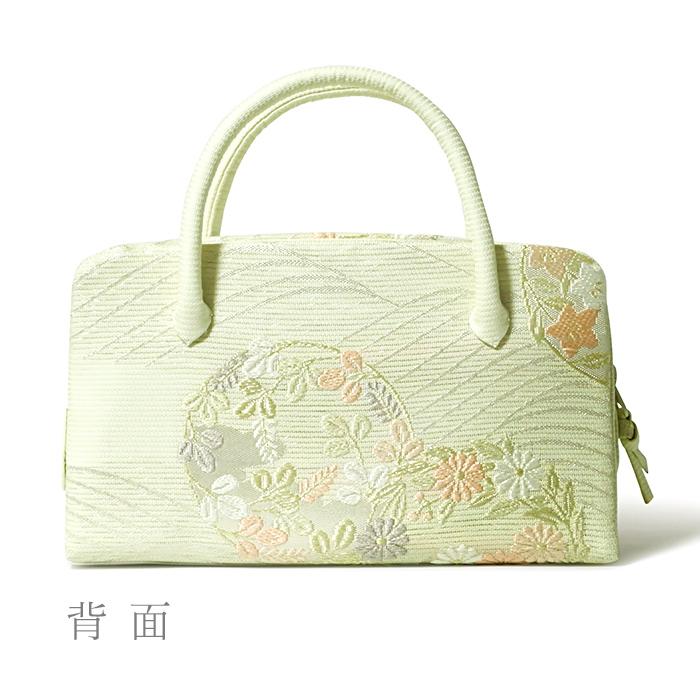 夏の葵バッグ「絽 波に花の丸」(小)