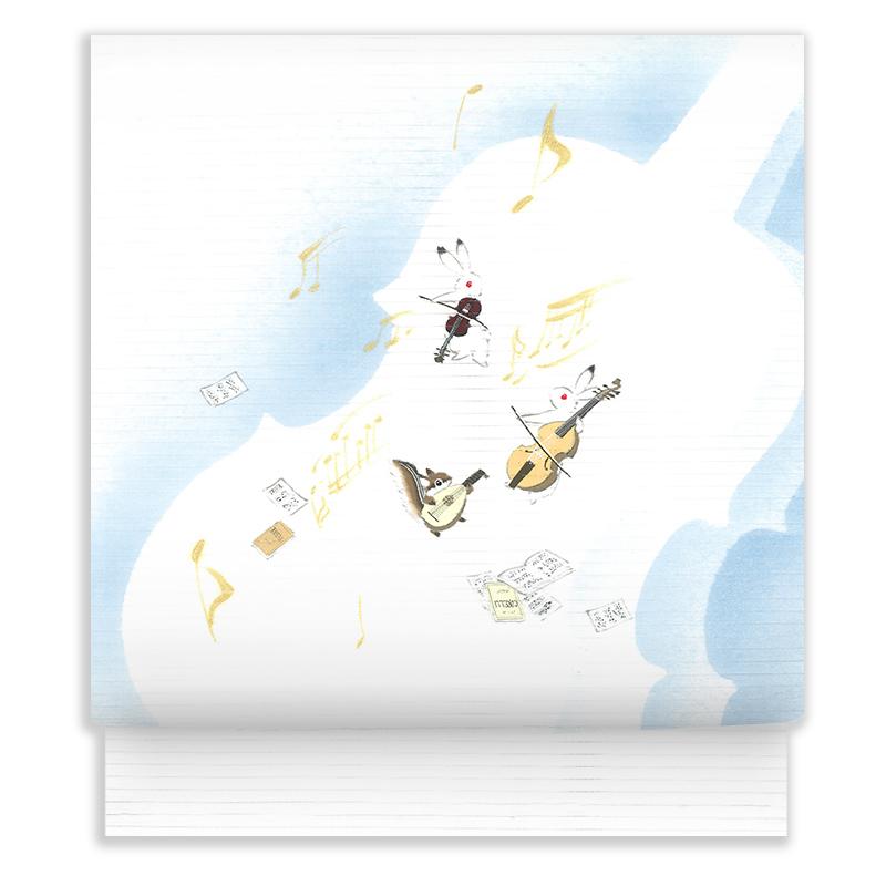 新塩瀬帯 夏の柄「楽器あそび」 絽・白