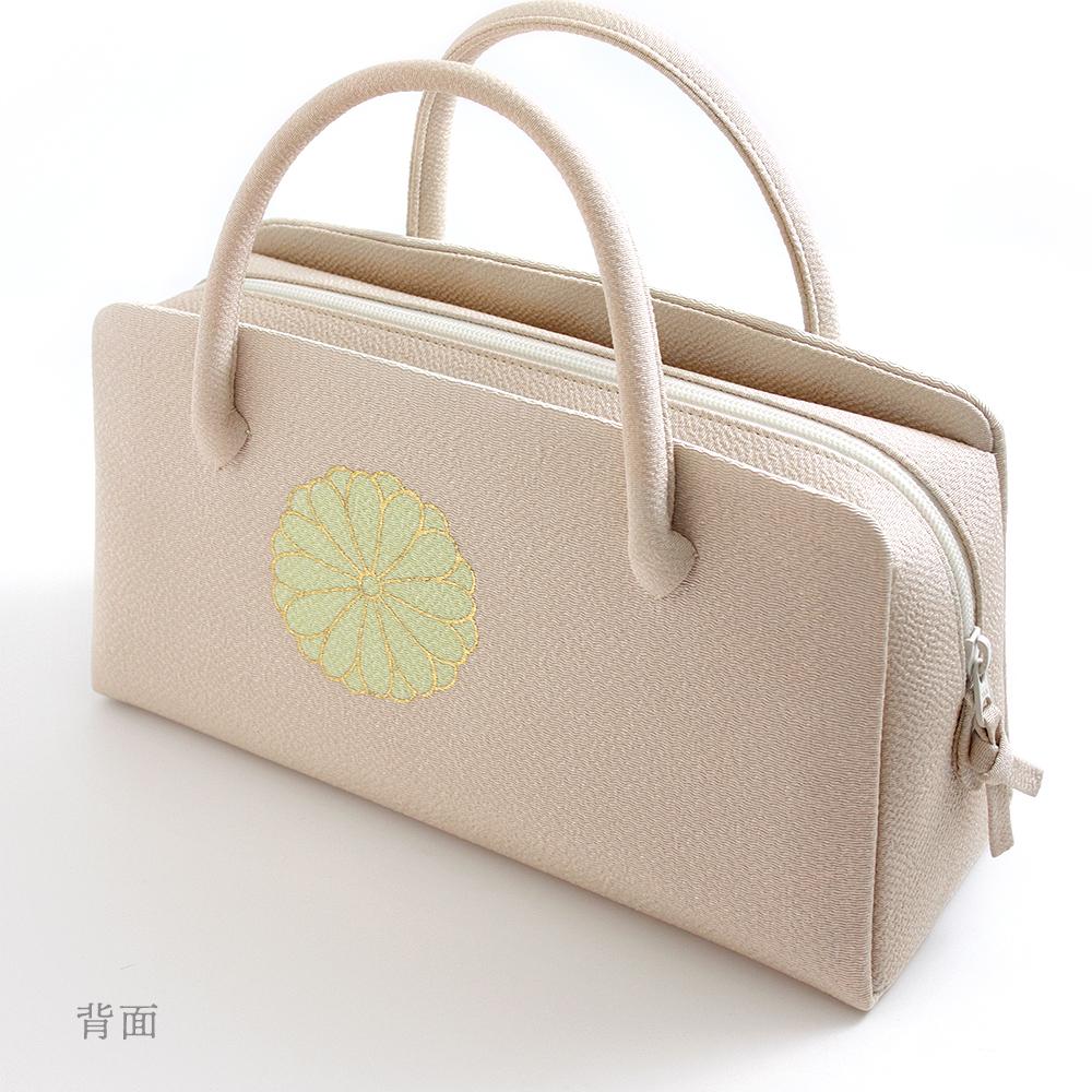 葵バッグ「菊文様」灰桜(中・小)