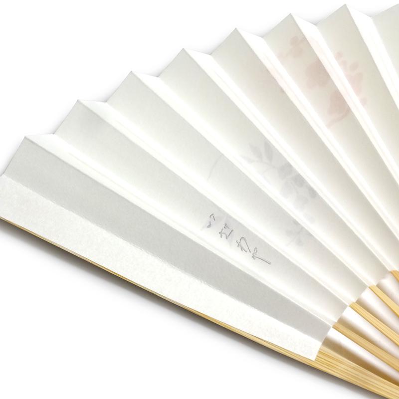 オリジナル手描き扇子「花丸・白竹」
