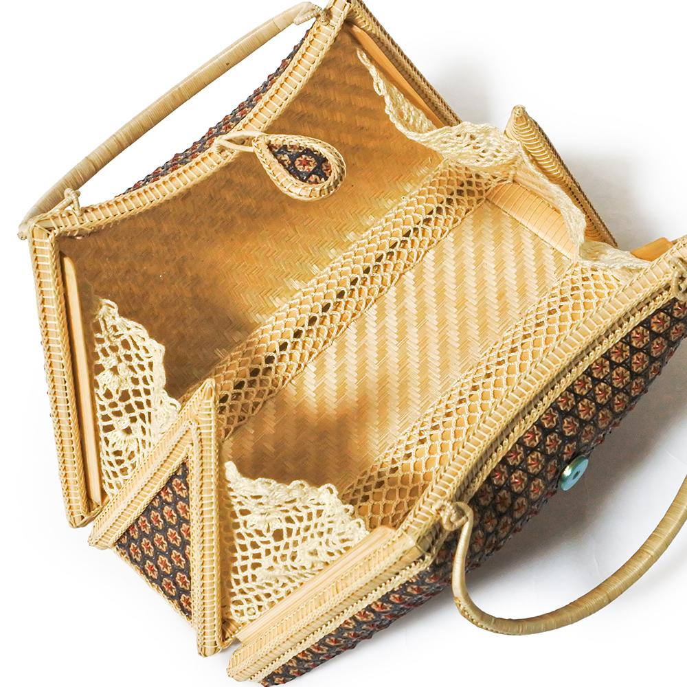 タイ製 竹細工 ミニハンドバッグ 台形 ダークレッド