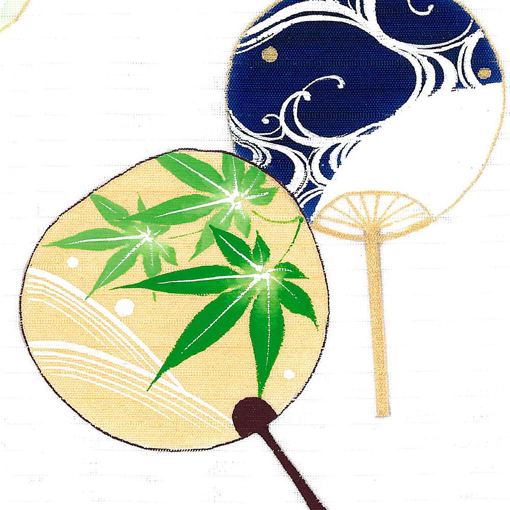 新塩瀬帯 夏の柄「うちわ 小」 絽・白地