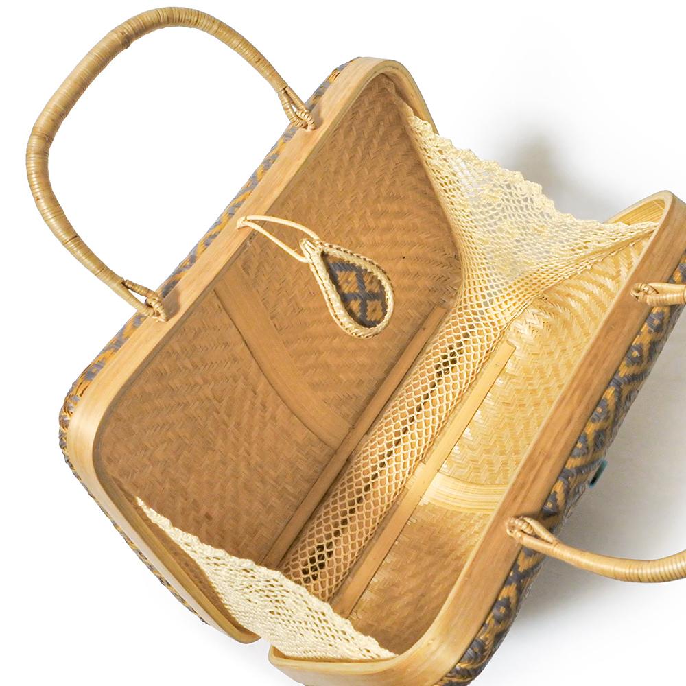 タイ製 竹細工 ミニハンドバッグ グレージュ