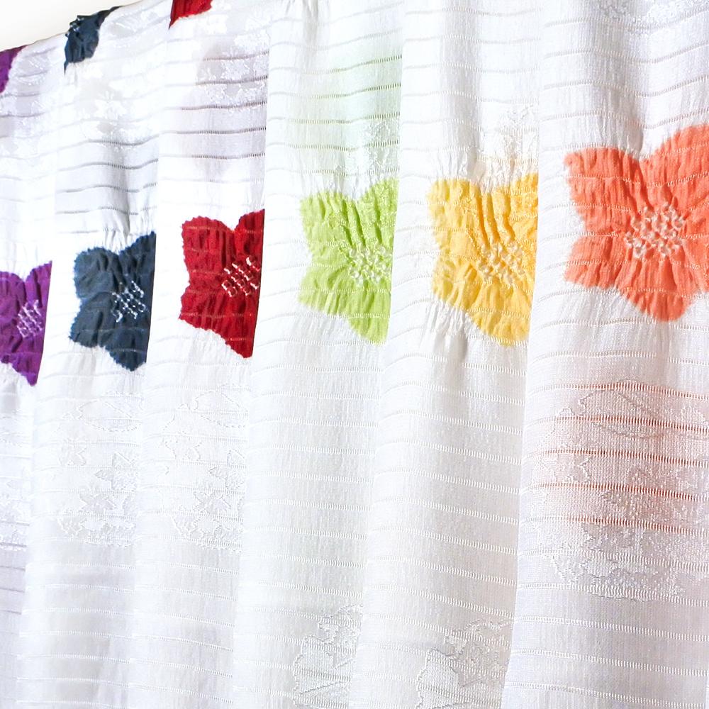 ●夏の帯揚げ 紋意匠絽 輪出桔梗絞り 白地