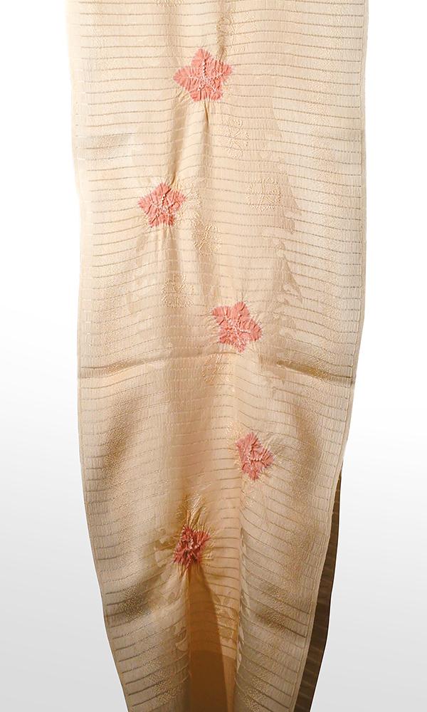 ●夏の帯揚げ 紋意匠絽 色地輪出桔梗絞り