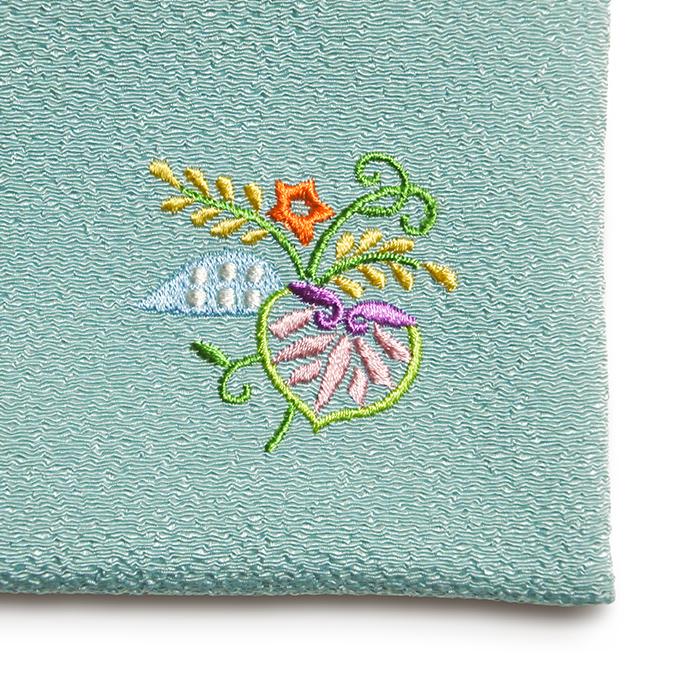 ちりめん刺繍ミニポーチ「結い葵」