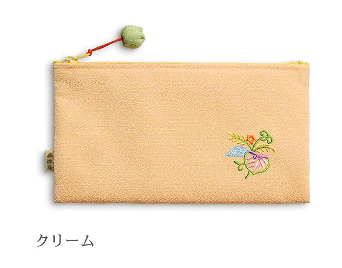 ちりめん刺繍横長ポーチ「結い葵」