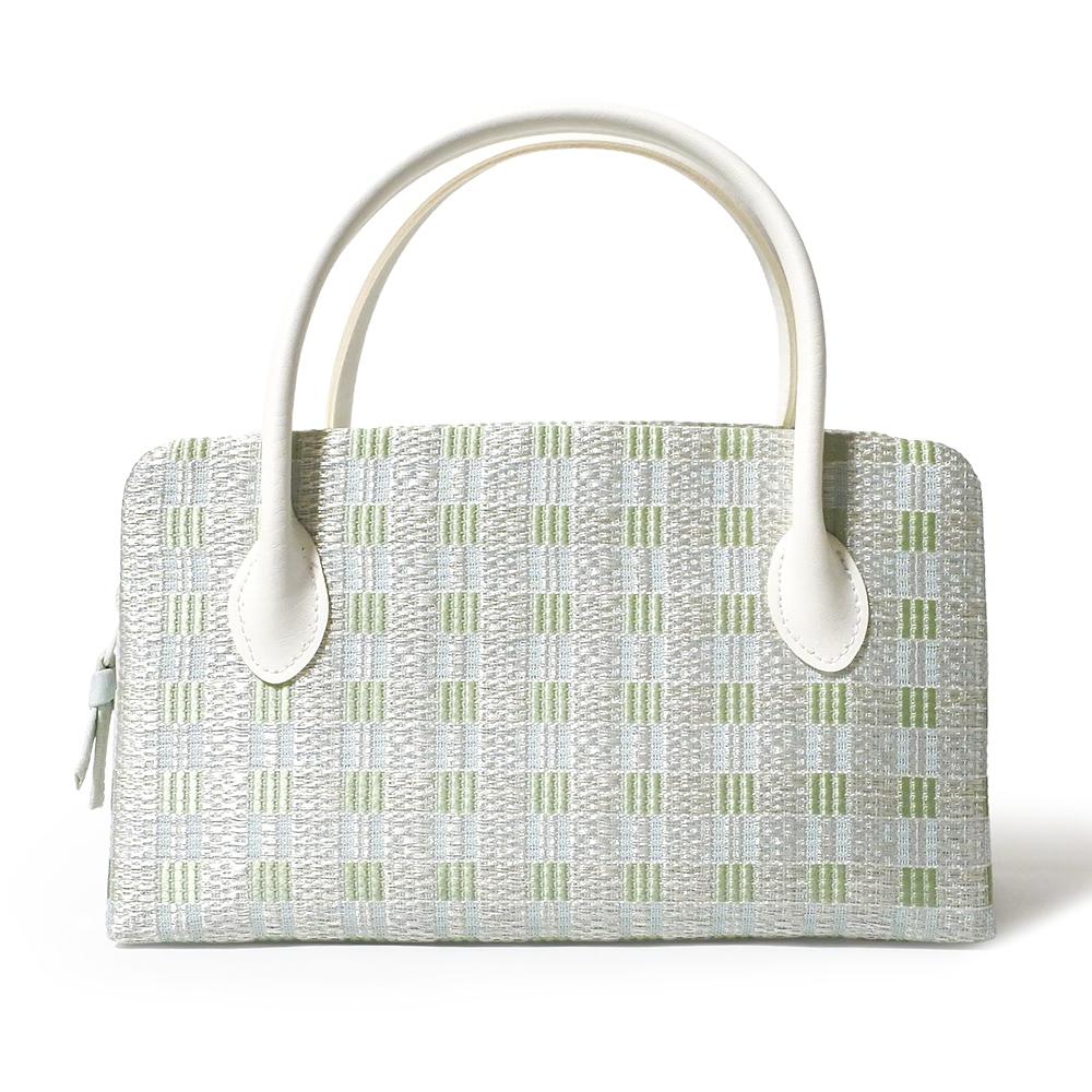夏の葵バッグ「絽 横段市松」(小)