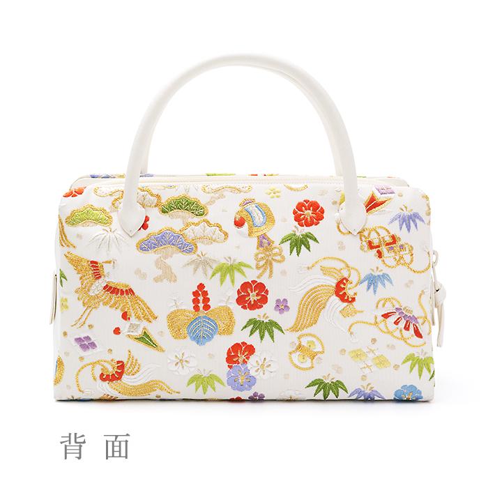 葵バッグ 手刺繍「宝尽くし」白(小)
