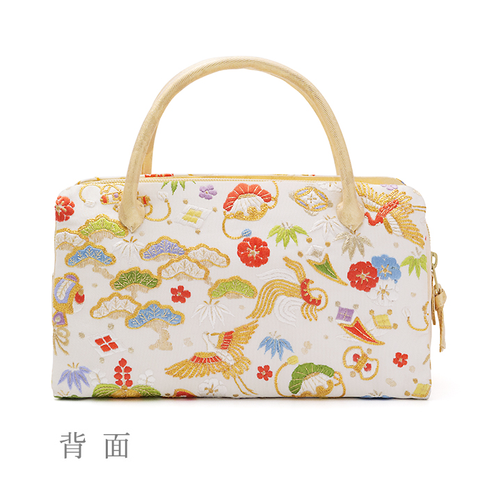 葵バッグ 手刺繍「宝尽くし」金(小)