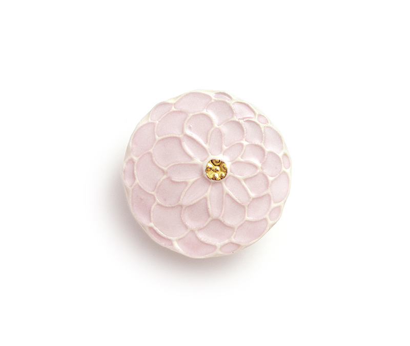 陶器の帯留め「ポンポン菊」(全7色)