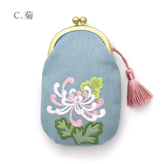 刺繍がま口「花ごよみ」(中)