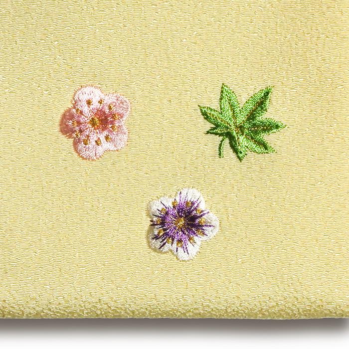 ちりめん刺繍マルチポーチ「小花ちらし」