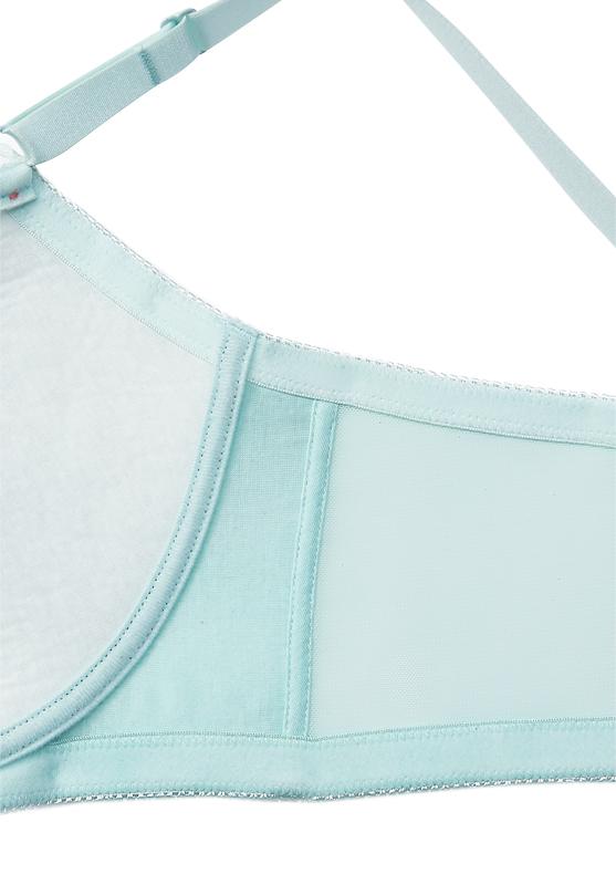 【グラマープリンセス】チュールレースミニマイザーワイヤーブラジャー(ミント/オレンジ) 小さく見せる ブラ 胸を小さく見せるブラ 大きいサイズ 下着 E85 E90 E95 F85 F90 F95 G85 G90 G95 プラスサイズ レース