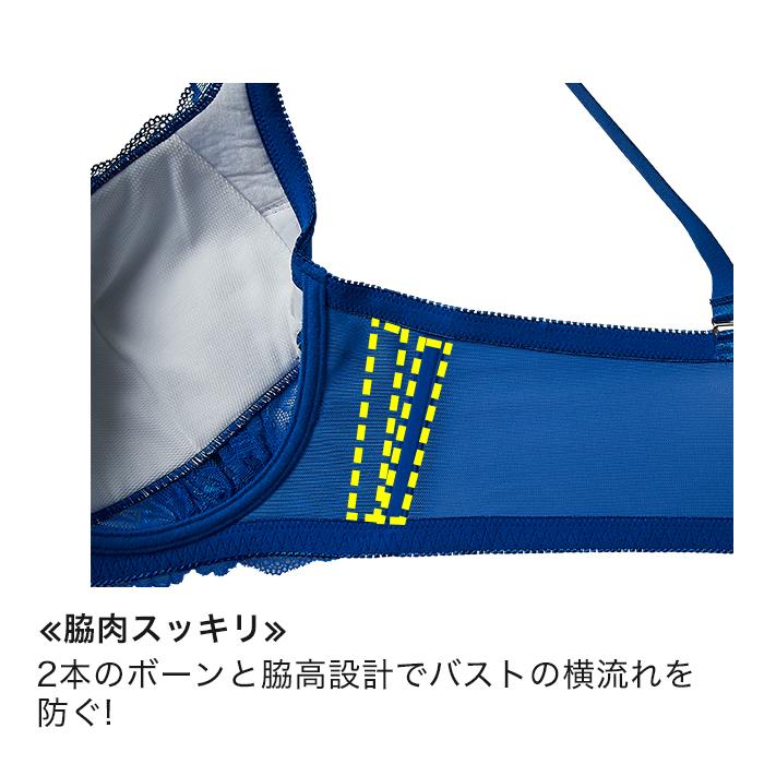 【グラマープリンセス】しっかりホールド・美胸キーパー3/4カップブラエアリー(イエロー/ブルー)