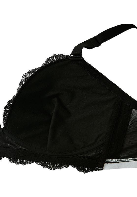【グラマープリンセス】3/4カップレースノンワイヤーモールドブラジャー(アイボリー/ブラック) ノンワイヤー ブラジャー 大きいサイズ 3L 4L 5L ブラ 女性下着 ランジェリー 美胸 プラスサイズ
