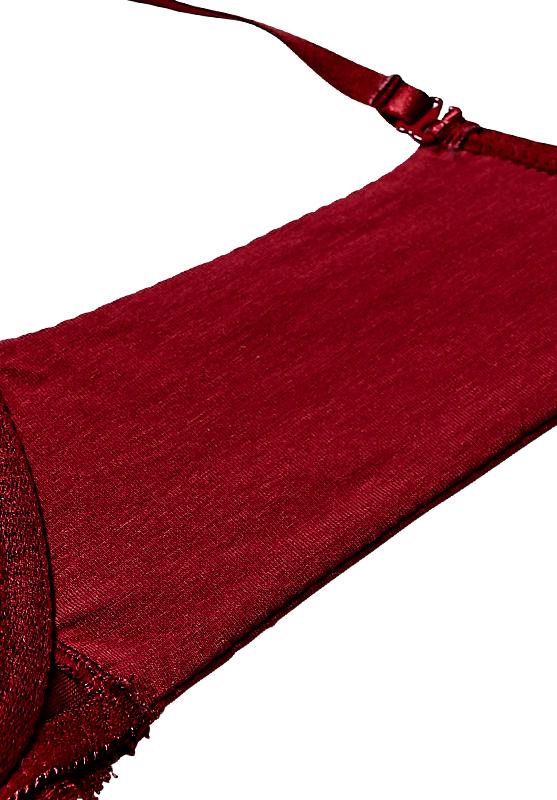 【izumiBODYLABO】盛れる綿ブラノンワイヤー&ショーツセット(ワイン/ブラック) ブラジャー 美胸 谷間 3/4カップ  下着 M L LL ノンワイヤーブラ 綿混 レディース 下着 女性下着 ランジェリー