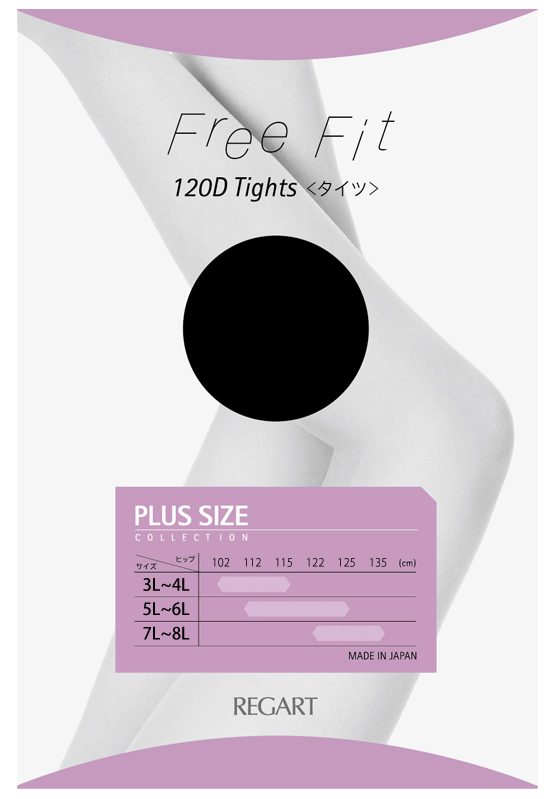 【FreeFit】ゆったりタイツ120D(ブラック)