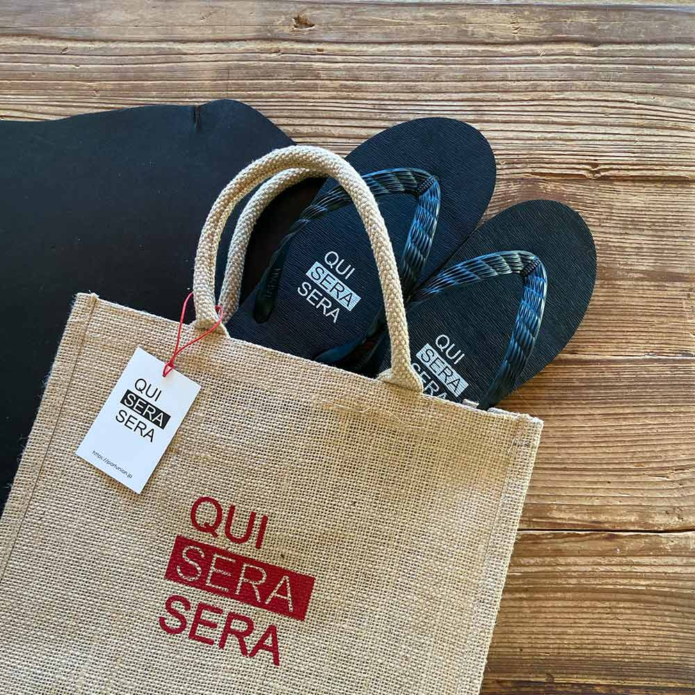 QUI SERA SERA 「神戸クラシック」天然ゴムビーチサンダル&ジュートバッグset