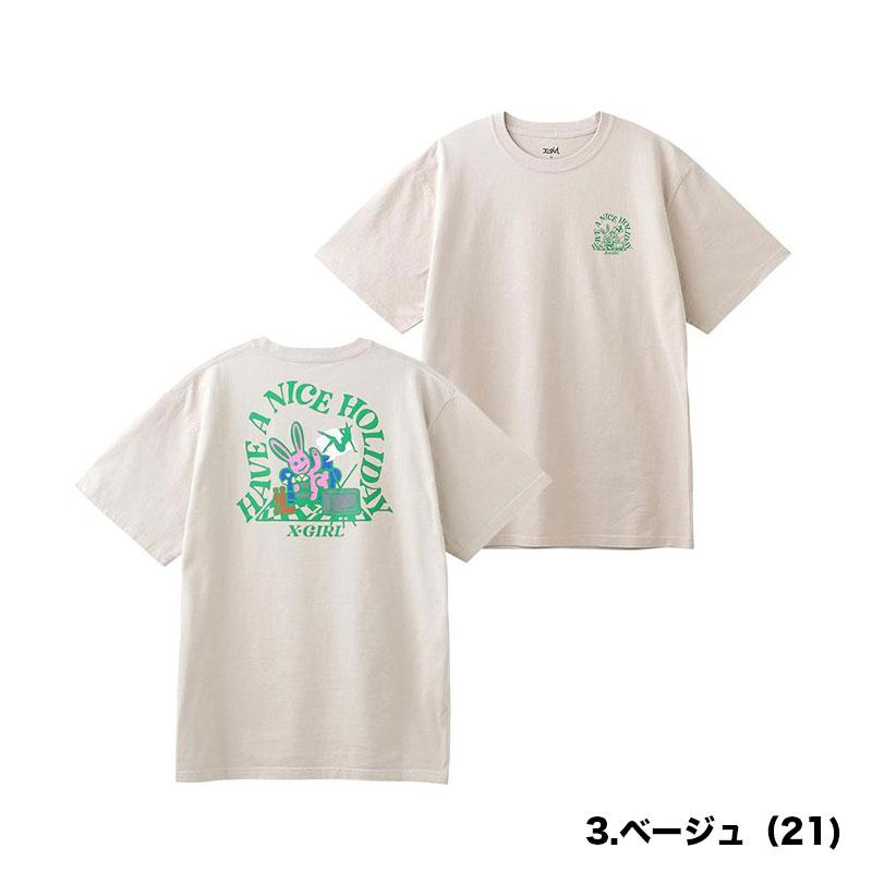 【105212011017】X-GIRL|エックスガール<br>半袖 Tシャツ HOLIDAY BUNNY SS T【21SS】 バニー ブラック ホワイト チャコール