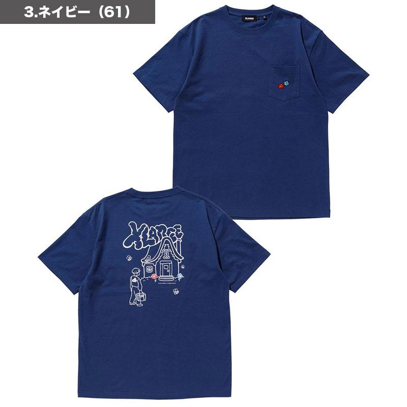 【101218011010】XLARGE|エクストララージ<br>メンズ 半袖Tシャツ SS POCKET WEEKENDER <br> ポケット カジュアル グラフィック 白 黒 ネイビー