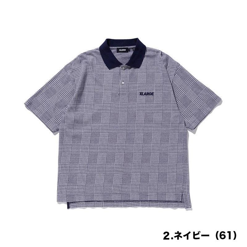 【101212014002】XLARGE エクストララージ<br>半袖 ポロシャツ GLENCHECK POLO SHIRT<br>メンズ【21SS】ベージュ ネイビー L