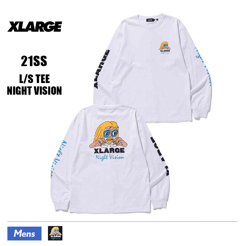 【101212011040】XLARGE|エクストララージ<br>長袖 Tシャツ L/STEE NIGHT VISION メンズ【21SS】ホワイト ブラック L M