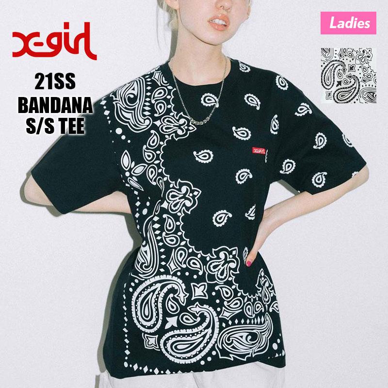 【105212011006】X-GIRL エックスガール<br>半袖 Tシャツ BANDANA SS TEE【21SS】レディース バンダナ柄 ペイズリー ブラック ホワイト M L