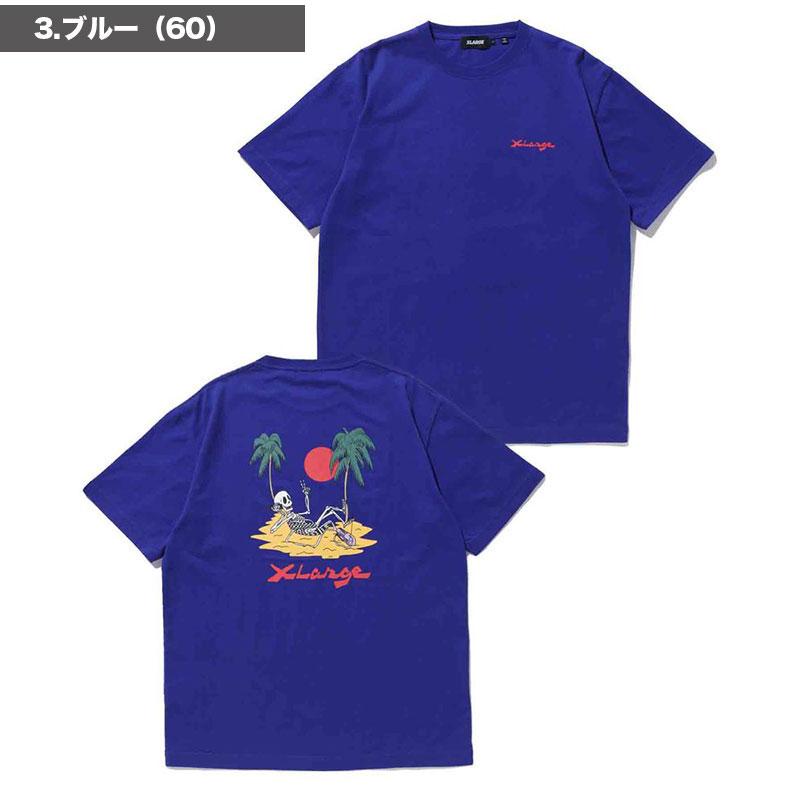 【101212011054】XLARGE|エクストララージ<br>半袖 Tシャツ S/S TEE VACATION  メンズ【21SS】ホワイト ブラック L M