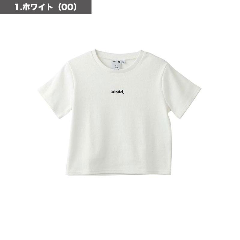 X-GIRL エックスガール<br>レディース 半袖Tシャツ EMB LG SS BABY TEE<br>ロゴ 刺繍 シンプル 綿100 トップス 白 オリーブ S M【105213013005】