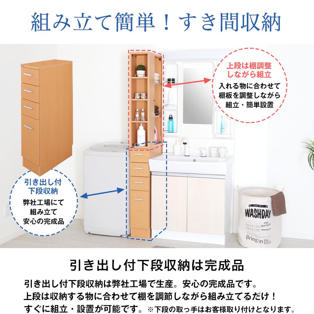 日本製 下段完成品(引き出しチェスト) 組立簡単 隙間収納ラック 幅20cm ノエル ランドリー・キッチン・洗面所・サニタリー・すき間収納