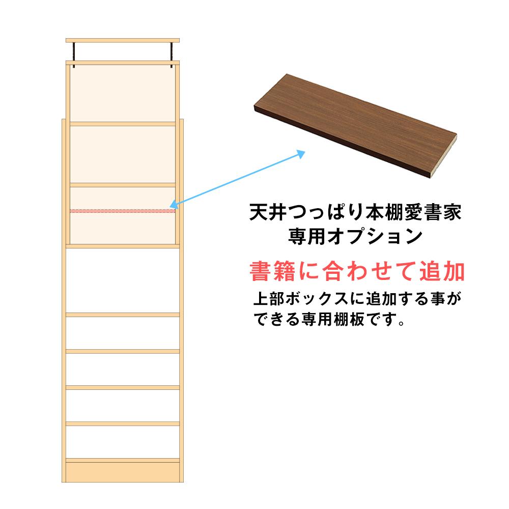 専用オプション 天井つっぱり本棚 愛書家 幅60cm×奥行17cm 上部ボックス用 追加棚板 棚ダボ付 天井つっぱり 地震対策 転倒防止 本棚・書棚