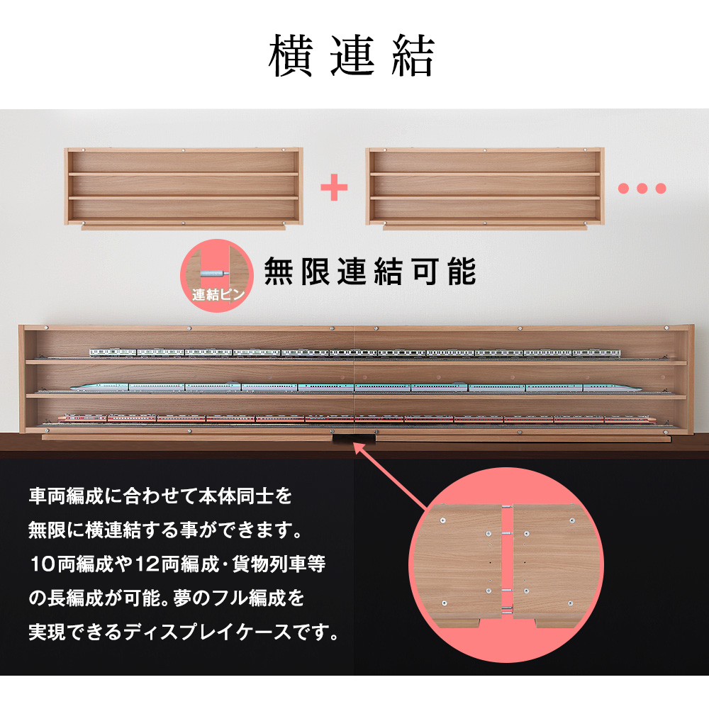 Nゲージ・HOゲージ対応 鉄道模型ディスプレイケース 幅113cm×奥行11.5cm 内寸/幅110cm×奥行8.8cm ※台座/幅78.3cm×奥行18.5cm