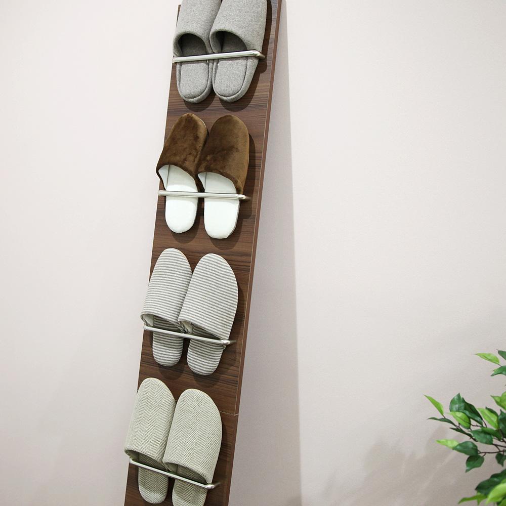 ルームシューズスタンド ヴィンス 幅25.5cm×高さ90cm(折り曲げた時)、高さ178cm(立てかけた時) スリッパ棚 6足 玄関収納 省スペース 清潔 日本製