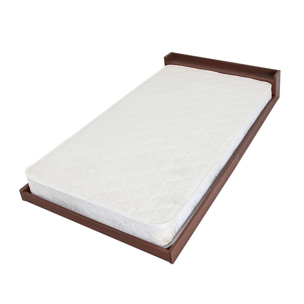 マットレス付ベッド フロアベッド ラティア+圧縮ロールボンネルコイルマットレス付 低床ベッド ローベッド シングルベッド 日本製 2口コンセント付 棚付 厚さ16.5cmマットレス スプリングコイル 硬めの寝心地